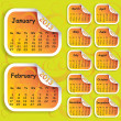 Calendar for year 2013 on sticker - Stock Vector