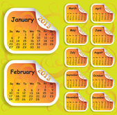 Calendar for year 2013 on sticker — Stock Vector