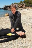 Diver rescue — Stock Photo