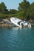 Sunk Speedboat — Stock Photo