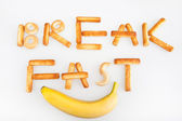 Breakfast label isolated on white — Stock Photo