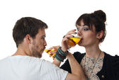 Romantic couple drinking beer — Stock Photo