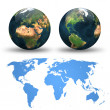 Foto Stock: Globe and detail map of the world. Different views.