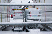 Shopping carts covered in snow — Stock Photo