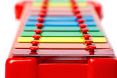 Xylophone metallophone for kids focus on foreground — Stok fotoğraf