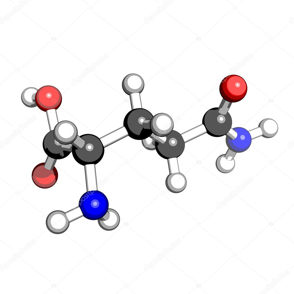 Amino acid glutamine molecular structure on a white background - Stock ...