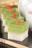 Seri Muka Kuih also known as the Pandan Custard Cake — Stock Photo