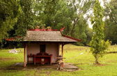 A Buddhist Prayer Hut in a Chinese Cemetery — Stock Photo