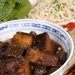 Braised Pork Belly Slices Cooked in Dark Soy Sauce — Stock Photo