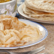 Roti Canai with Lentil Curry — Stock Photo