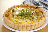 Minced Beef and Leek Quiche — Stock Photo