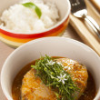 Thai Fish Red Curry Topped with Sawtooth Coriander — Stock Photo