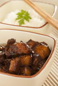 Braised Pork Belly in Dark Soy Sauce — Stock Photo