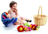The girl with toys — Stock Photo