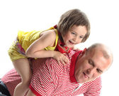Very cheerful father and the daughter on the white — Stock Photo