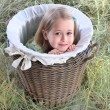 Stock Photo: Girl hid in wattled basket