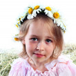 Portrait of the girl in a wreath from field camomiles — Stock Photo