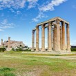 Stockfoto: Temple of OlympiZeus, Acropolis in background, Athens, Greece