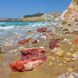 Stock Photo: Volcanic rocks, Fyriplakbeach, Milos island, Cyclades, Greece