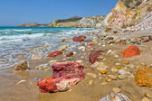Volcanic rocks, Fyriplaka beach, Milos island, Cyclades, Greece — Stock Photo
