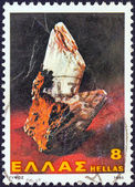 "GREECE - CIRCA 1980: A stamp printed in Greece from the ""Minerals"" issue shows gypsum, circa 1980. — Stock Photo"