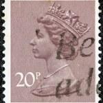 UNITED KINGDOM - CIRCA 1971: A stamp printed in United Kingdom shows a portrait of Queen Elizabeth II, circa 1971. — Stock Photo
