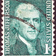 "US- CIRC1968: stamp printed in USfrom ""Prominent Americans"" issue shows portrait of president Thomas Jefferson (by Rembrandt Peale), circ1968. — Stock Photo #10887254"