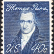 "Stock Photo: US- CIRC1968: stamp printed in USfrom ""Prominent Americans"" issue shows portrait of author Thomas Paine (by John Wesley Jarvis), circ1968."