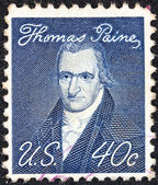 "USA - CIRCA 1968: A stamp printed in USA from the ""Prominent Americans"" issue shows a portrait of author Thomas Paine (by John Wesley Jarvis), circa 1968. — Stock Photo"