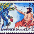 "GREECE - CIRCA 1987: A stamp printed in Greece from the ""Aesop's Fables"" issue shows ""Zeus and the Snake"", circa 1987. — Stock Photo"