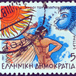 """GREECE - CIRCA 1987: A stamp printed in Greece from the """"Aesop's Fables"""" issue shows """"The North Wind and the Sun"""", circa 1987. — Stock Photo #10893860"""