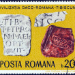 "Stock Photo: ROMANI- CIRC1976: stamp printed in Romanifrom ""Daco-RomArchaeological Finds"" issue shows Inscribed Tablets, Tibiscum (Banat), circ1976."