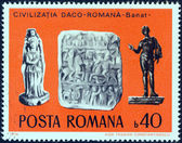 """ROMANIA - CIRCA 1976: A stamp printed in Romania from the """"Daco-Roman Archaeological Finds"""" issue shows Sculptures (Banat) , circa 1976. — Stock Photo"""