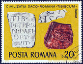 "ROMANIA - CIRCA 1976: A stamp printed in Romania from the ""Daco-Roman Archaeological Finds"" issue shows Inscribed Tablets, Tibiscum (Banat), circa 1976. — Stock Photo"