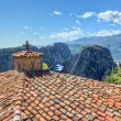 View from the roof of Varlaam monastery, Meteora, Greece - Stock Photo