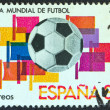 "SPAIN - CIRCA 1980: A stamp printed in Spain from the ""World Cup Football Championship, Spain 1982 (1st series)"" issue, shows ball and flags, circa 1980. — Stock Photo"