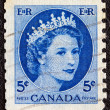 Stock Photo: CANAD- CIRC1954: stamp printed in Canadshows portrait of Queen Elizabeth II, circ1954.