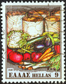 "GREECE - CIRCA 1981: A stamp printed in Greece from the ""Exports"" issue shows fresh and canned vegetables, circa 1981. — Stock Photo"