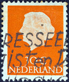 NETHERLANDS - CIRCA 1953: A stamp printed in the Netherlands shows a portrait of Queen Juliana, circa 1953. — 图库照片