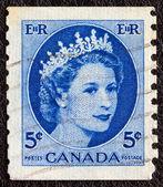 CANADA - CIRCA 1954: A stamp printed in Canada shows a portrait of Queen Elizabeth II, circa 1954. — Stock Photo