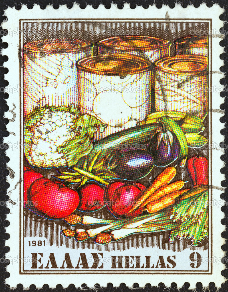 "GREECE - CIRCA 1981: A stamp printed in Greece from the ""Exports"" issue shows fresh and canned vegetables, circa 1981. — Stock Photo #10922502"