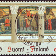 "FINLAND - CIRCA 1982: A stamp printed in Finland from the ""Europa"" issue shows ""The Inauguration of Turku Academy 1640""  painting by Albert Edelfelt, circa 1982. — Stock Photo"