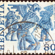 SWITZERLAND - CIRCA 1977: A stamp printed in Switzerland shows Vogel Gryff, Basel, circa 1977. — Stock Photo