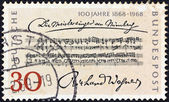"GERMANY - CIRCA 1968: A stamp printed in Germany issued for the Centenary of 1st Performance of Richard Wagner's Opera ""The Mastersingers"", circa 1968. — Stock Photo"