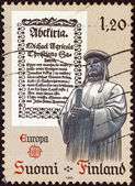 """FINLAND - CIRCA 1982: A stamp printed in Finland from the """"Europa"""" issue shows Mikael Agricola and a document, circa 1982. — Stock Photo"""