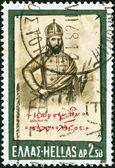 "GREECE - CIRCA 1968: A stamp printed in Greece from the ""Hellenic Fight for Civilization Exhibition, Athens"" issue shows Emperor Constantine Palaiologos, circa 1968. — Stockfoto"