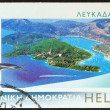 "GREECE - CIRCA 2006: A stamp printed in Greece from the ""Island views"" issue shows Lefkada island, circa 2006. - Lizenzfreies Foto"