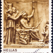 "Stock Photo: GREECE - CIRC1983: stamp printed in Greece from ""Homeric epics"" issue shows deification of Homer, circ1983."