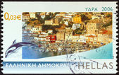 "GREECE - CIRCA 2006: A stamp printed in Greece from the ""Island views"" issue shows the port of Hydra island, circa 2006. — Стоковое фото"