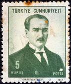 TURKEY - CIRCA 1968: A stamp printed in Turkey shows a portrait of Kemal Ataturk, circa 1968. — Stock Photo